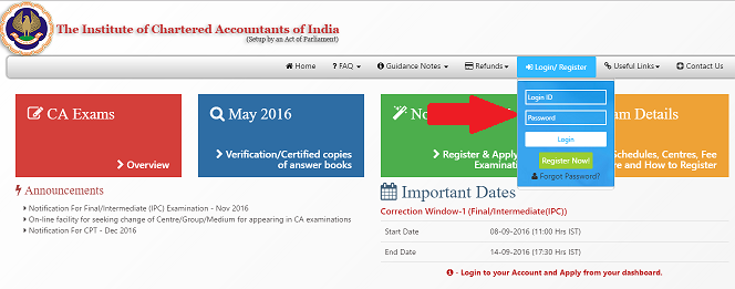 ICAI Admit card Nov 2016