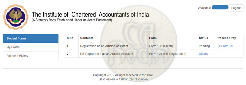 forms.icai.org - CA Student Online Articleship Registration