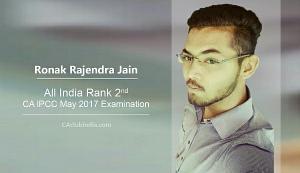Ronak Rajendra Jain IPCC All India 2nd Rank Interview