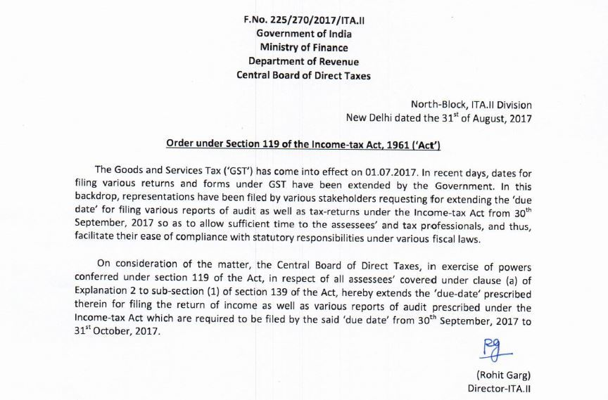 Income Tax Due Date Extended to 31st October